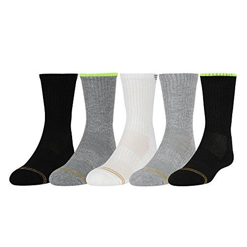 Gold Toe Big Boys' Ultra Tec Athletic Striped Back Crew Socks, 5 Pairs, Grey/Yellow, Black/Yellow, White/Grey, Grey/Yellow, Black/Yellow, Shoe Size: (Tec Socks)