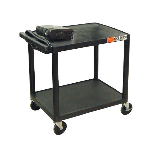 Offex Multi-Purpose 2 Shelf Rolling Storage Cart with Electric - Black