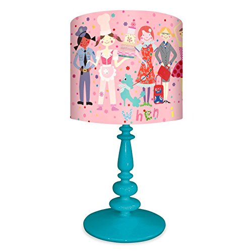 Oopsy Daisy NB14922 When I Grow Up Girls on Resin Turquoise Base Table Lamp