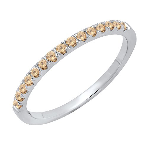 Dazzlingrock Collection 0.25 Carat (ctw) 14K Round Champagne Diamond Ladies Wedding Band 1/4 CT, White Gold, Size 9