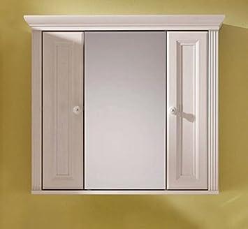 Spiegelschrank mit beleuchtung landhaus  Badschrank JASMIN Spiegelschrank mit 2 Türen, Landhaus Lärche weiß ...