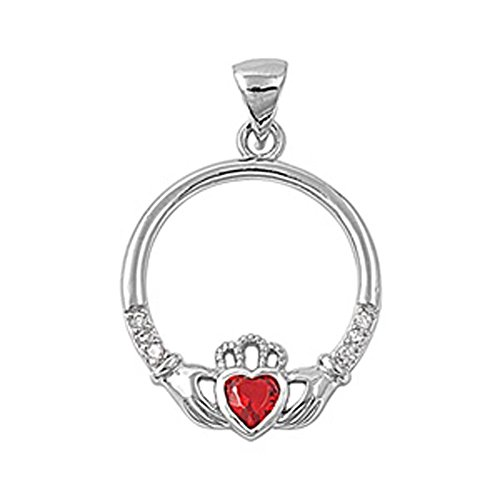 (Heart Claddagh Pendant Simulated Garnet .925 Sterling Silver Charm - Silver Jewelry Accessories Key Chain Bracelet Necklace Pendants)