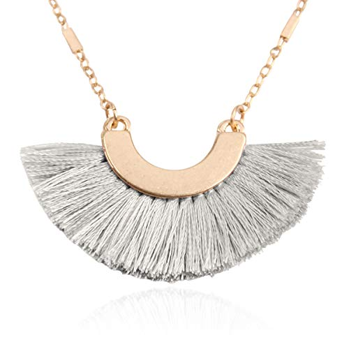 RIAH FASHION Bohemian Fringe Tassel Pendant Statement Necklace - Silky Strand Semi Circle Thread Fan Charm Long Chain (Half Moon/Small - Light Gray) ()