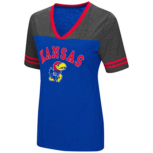 Colosseum Women's NCAA Varsity Jersey V-Neck T-Shirt-Kansas Jayhawks-Blue-Medium