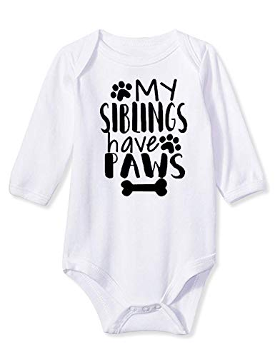 Infant Baby Boys Girls Unisex Pregnancy Reveal Bodysuit My Siblings Have Paws Sports Onesie Solid Cotton Summer Fall Winter Bone One-Piece Jumpsuit Sunsuit 1/2 Birthday Romper with 3-6 Months