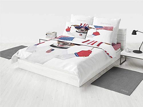4th of July Decor 3D Pattern Bedding Sets Zig Zag Chevron Pa