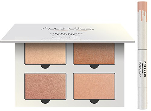 Aesthetica Strobe Series Highlighter Kit – 4 Powders & 1 Liquid Highlighter (Radiate)