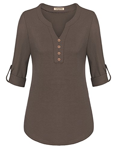 Larenba Henley Tops for Work, Womens V Neck Shirts Long Sleeve Pullover Casual Autumn Clothes Button Down Shirts(Mocha,X-Large) (Top Shirt Brown Autumn)