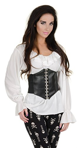 Put Ideas Costume Halloween Together (Underwraps Women's Renaissance Blouse, White,)