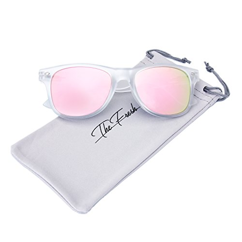 Halloween Contacts Prescription (The Fresh Matte Frosted Frame Reflective Colored Mirror Lens Horn Rimmed Sunglasses with Gift Box (2-Frost, Pink Mirror))