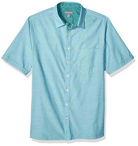 Geoffrey Beene Men's Big and Tall Easy Care Short Sleeve Button Down Shirt, Blue Glow, 3X-Large Big