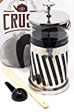 French Press Coffee Tea Infuser Cafà Crush Avignon Stainless Steel Bonuses; 32|34oz|1Liter (Stainless Steel)