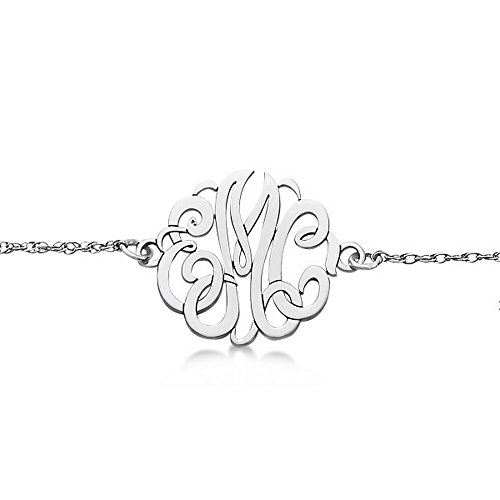 Hand-Made Personalized Calligraphy Font Three-Initial Monogram Chain Bracelet in 14k White Gold by Allurez