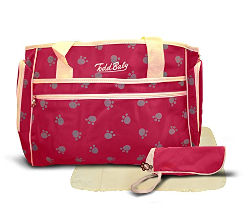 Todd Baby Official Brand New 3 Pc Paw Red Quilted Bottle Holder Set Diaper Nappy Changing Stylish Designed Strap 13.8 x 15.8 x 2.8 inches Shoulder Bag