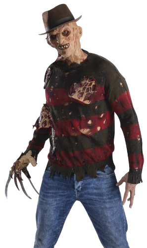 Rubie's Men's Nightmare On Elm St Adult Sweater with Burning Latex Flesh, Multicolor, X-Small - Adult Freddy Sweater