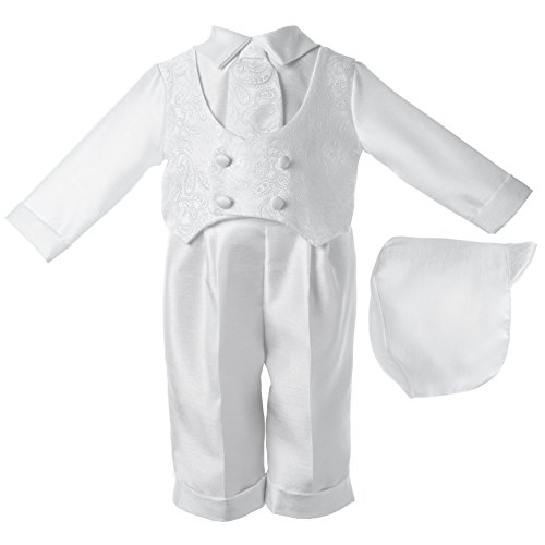 Lauren Madison baby boy Christening Baptism Infant Shantung Pant With Vest, White, 0-3 Months