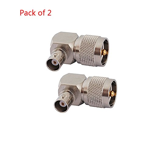 (SaferCCTV(TM)2pcs UHF PL259 PL-259 Male to BNC Female Right Angle Connector RF Coaxial Connector Adapter for Radio Antenna Broadcast Telecom Computers/LANs Satcom Cable Modems)