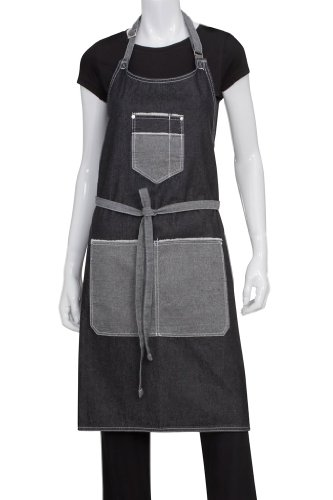 Chef Works Unisex Bronx Bib Apron w/Scoop Neck, Black, One Size