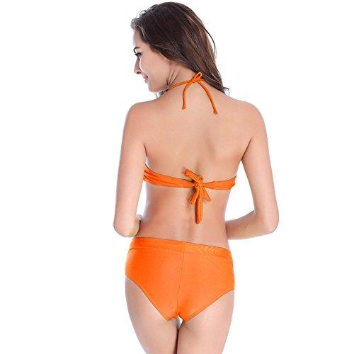 UDreamTime Femenino 2pcs de la alta subida del bikini traje de baño Set de ropa de playa Naranja