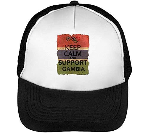 Vintage Keep Calm Support Gambia Gorras Hombre Snapback Beisbol Negro Blanco