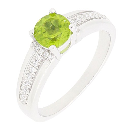 - BL Jewelry Sterling Silver Solitaire Round Cut Genuine Peridot Ring (0.85 CT.T.W)