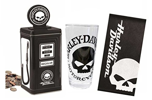 Gas Pump Bank (Harley-Davidson Skull Gas Pump Bank and Tall Beer Glass Set)