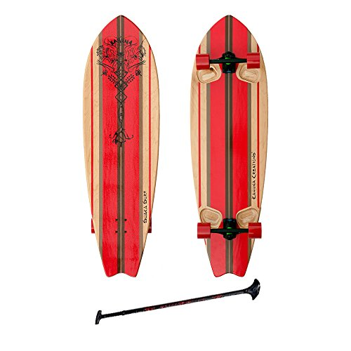 "Kahuna Creations SHAKA SURF 46"" COMPLETE STAND UP PADDLE STREET SKATEBOARD AND PADDLE 46"" BLACK/RED"