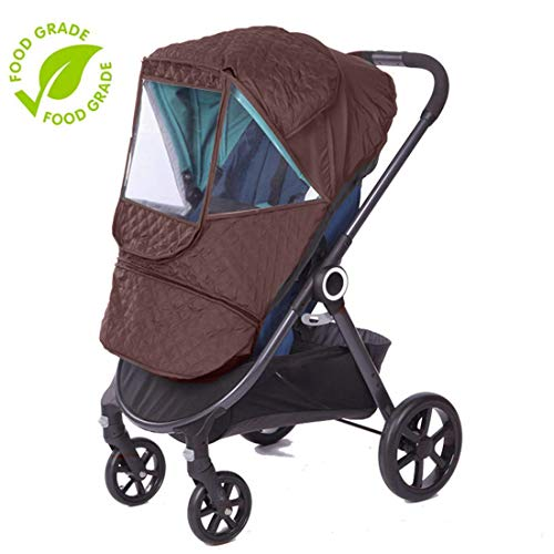 Universal Stroller rain Cover Baby Stroller Windshield rain Cover, Snow Cover, Warm Winter Sunshade Waterproof Cover (Brown Color)