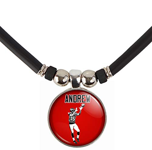 Customizable Boys Football Name and Number Pendant Necklace-Mens and Boys Football Player Pendant Charm Jewelry-Personalizet for Football Teams, Football Moms and Football Dads (FOOTBALL RECEIVER) -