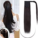 20 Inch Wrap Around Hair Ponytail Extensions Remy Human Hair Binding Pony Tail Hairpiece with Comb for Women One Piece #1 Jet Black Long Straight