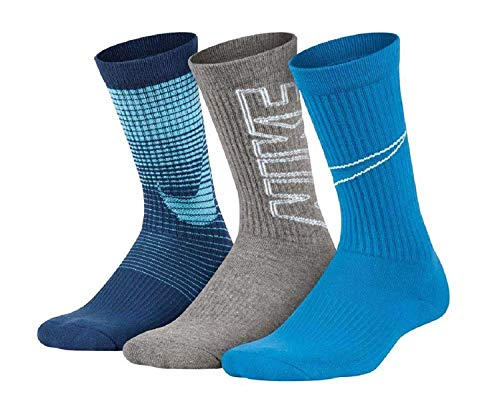 Nike 3 Pack Performance Cushion Socks- Boys Young Athletes 3Y-5Y/7-9 (Sock Size)