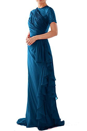 MACloth Women Short Sleeve Long Mother of Bride Dress Wedding Party Formal Gown Teal