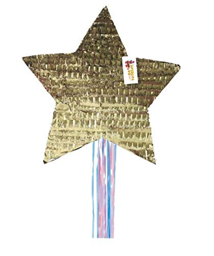 APINATA4U Gender Reveal Star Pinata Traditional Whack & Pull Strings Style Gold -