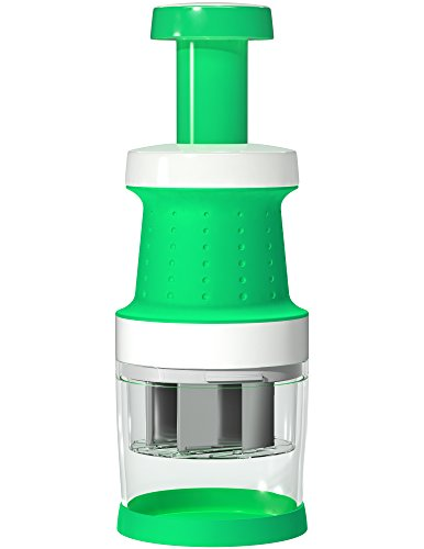 Vremi Food Chopper One Piece Salad Vegetable Chopper and Slicer Dicer Manual Mini Hand Chopper Onion Garlic Mincer with Cover for Vegetables Stainless Steel Cutter Blade Green