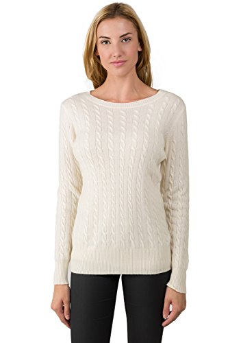 Cashmere Cable Sweater (J Cashmere Women's 100% Cashmere Long Sleeve Pullover Cable Crewneck Sweater Cream Large)