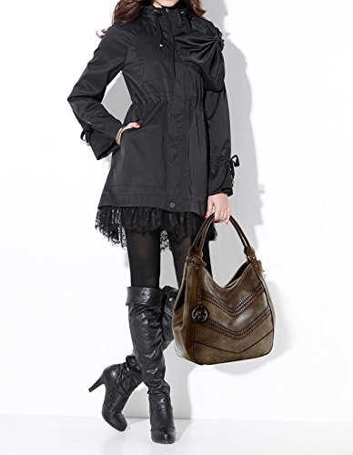 Faux 38cm LeahWard Soft Women's Width Fashion COFFEE Shoulder Leather Bags Handbags 36cm Height Zipper Medium wXw0rxT