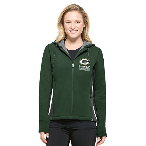 NFL Green Bay Packers Women's '47 Compete Full-Zip Hood, Pine, Small Pine Green Apparel