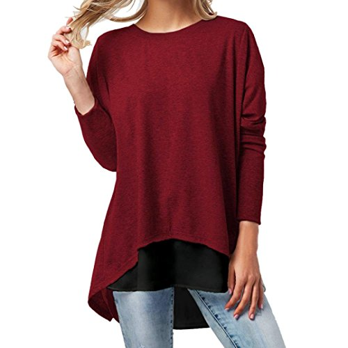 DEATU 2PCS Fashion Womens O-Neck Button Patchwork Long Sleeve Solid T Shirt Tops(Wine,Size XXL) from DEATU