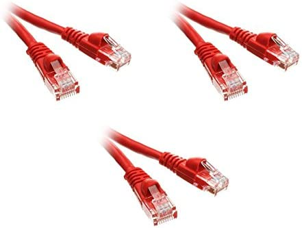 Snagless//Molded Boot 1.5 Feet Red 3 Pack Cat5e Ethernet Patch Cable CNE497285