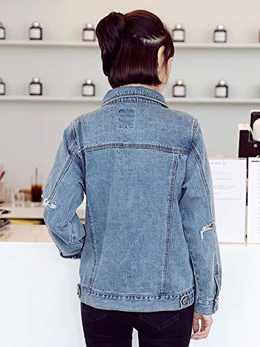 Corto Casual Buco Donna Allentata Blu Denim Xs Nz In Giacca Da Allentato Con Lunga colore Rotto Blu Manica Cappotto Dimensioni PnxFFw75