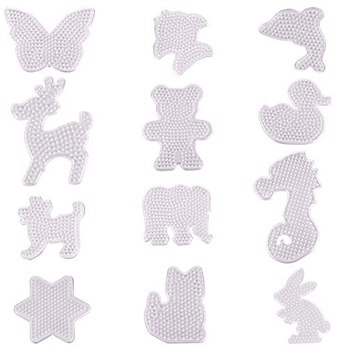 Xgood 12 Pieces Fuse Beads Pegboards Clear Animal Shape Plastic Template Beads Boards for Kids Craft -