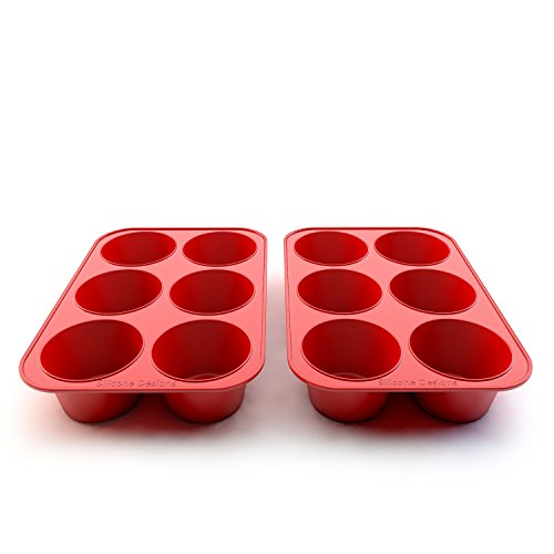 Silicone Texas Muffin Pans and Cupcake Maker, 6 Cup Large, Set of 2, Commercial Use, Plus Muffins Recipe Ebook by Silicone Designs (Image #4)