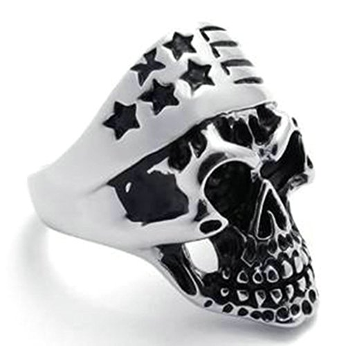 Stainless Steel Ring for Men, Dead Head Ring Gothic Silver Band 22MM Size 10 - Outlets At Citadel