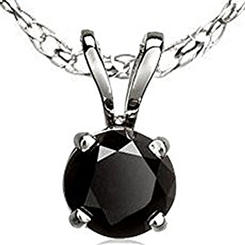 3.00 Carat (ctw) 18K White Gold Round Cut Black Diamond Ladies Solitaire Pendant 3 CT