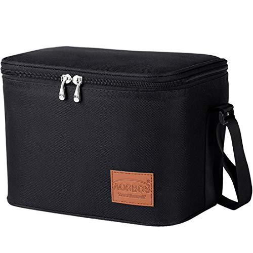 (Aosbos Insulated Lunch Box Bag Cooler Reusable Tote Bag Women Men 7.5L Black)
