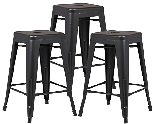 "Poly and Bark Trattoria 24"" Counter Height Stool in Black (Set of 3)"