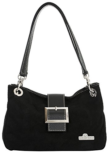 Small Trim LIATALIA Faux PIXIE Real Leather Cotton Bag Italian Black Lining Black Suede with Trim t6qn6g