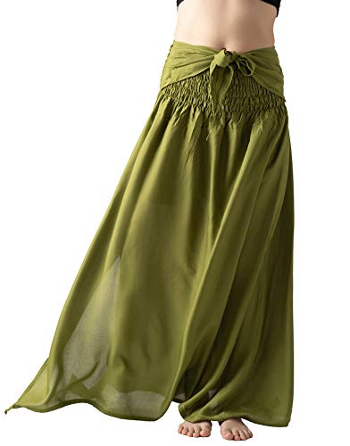 Bangkokpants Women's Casual Long Beach Party Maxi Skirt Party Dress Bow Tie Waist Premium Rayon (Pear Green, Plus Size) -