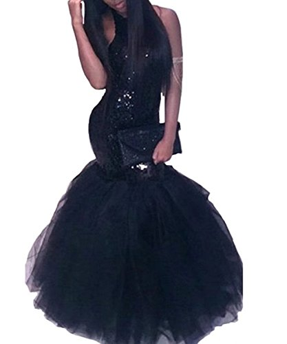 Lemai Halter Sequined Long Mermaid Tulle Backless Prom Evening Dresses Black US (Sequined Halter Gowns)