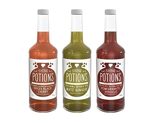 Shine Potions Variety Pack, All Natural Herbal Tonic, Organic Juices, Ready to Drink Cocktail Mixer & Mocktail Beverage (3 Pack)